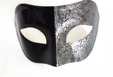 Genuine Venetian Black & Silver Crackle Mask (1) (2)